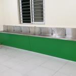 Thi công bồn rửa tay inox công nghiệp cho trường Lê Quý Đôn